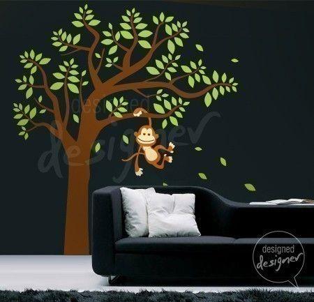 Removable Kid Vinyl wall sticker decal Art - Monkey Having Fun on Tree - dd1003. $60.00, via Etsy.