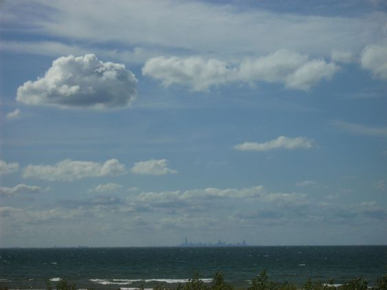 Lake Michigan with Chicago in the background.