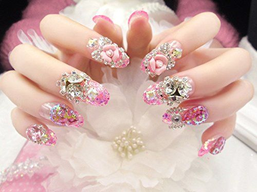 The London Store Pink Bridal Artificial Nail Extension Ready Made With Glue Fashion Prom Weddings Love Girllove Girlfriend Girl Beauty Happy Week Unhas