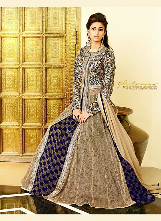 Anarkali Style Brown & Blue Color with Patch Work Incredible Unstitched Salwar Kameez - GVJD076A01A7A | Indian Trendz
