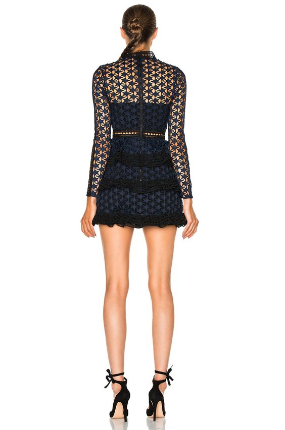 Image 4 of self-portrait High Neck Star Lace Paneled Dress in Navy