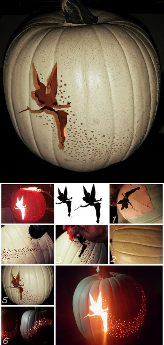 Halloween pumpkin carving diy tinker bell pixie dust for How to carve tinkerbell in a pumpkin