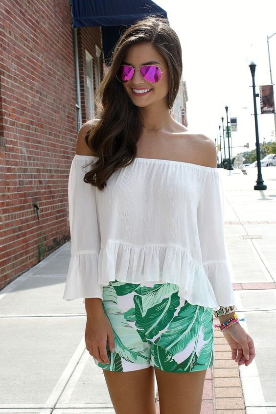 Chasing Abigail Lee - summer outfit. palm shorts. off the shoulder blouse. pink ray bans. style blog.