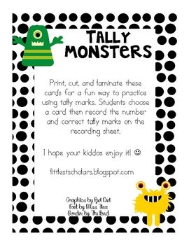 Print, cut, and laminate these cards for a fun way to practice using tally marks. (free)