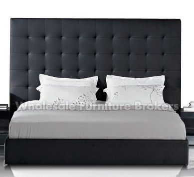 lyrica black leather queen tall headboard bed modern man 39 s apartment pinterest leather. Black Bedroom Furniture Sets. Home Design Ideas