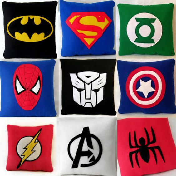 superhero cushion coussins super heros Coussins Super Heros: Avengers Batman Superman Spiderman Transformers Captain America Green Lantern