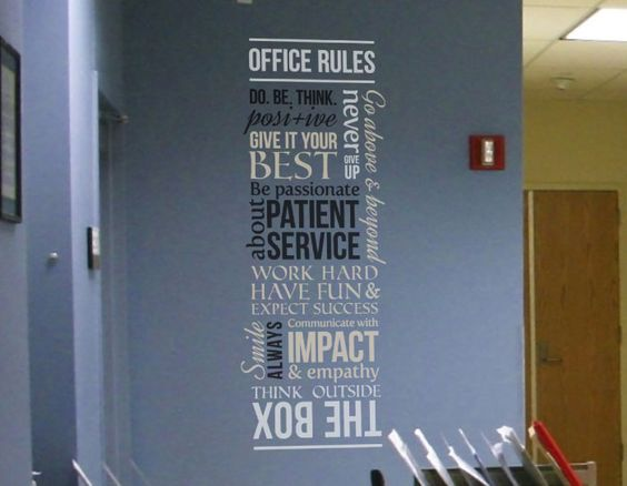 Drs office wall decal inviting work spaces pinterest for Office design rules