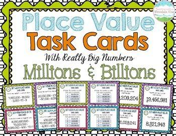 Place Value Task Cards { Millions and Billions } Enrichment ...