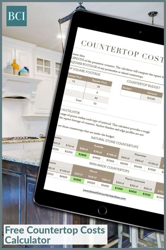 Countertop Costs Calculator Beautiful Countertop Ideas