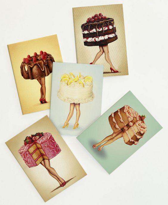 Hot Cakes walking Set als Grußkarten-Set von Kelly Gilleran | JUNIQE  https://www.juniqe.de/hot-cakes-walking-set-gift-card-set-of-5-614645.html