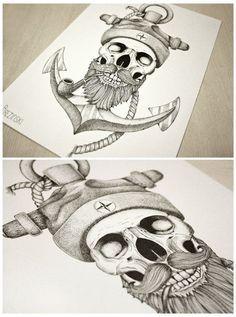 Sailor beard and anchor sketch tattoo idea