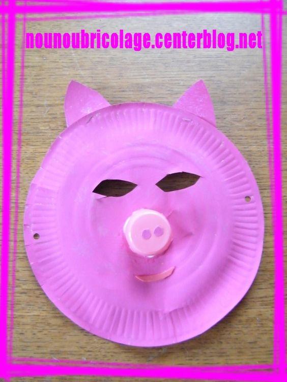 Masque cochon assiette en carton 08 masques assiettes - Bricolage avec des assiettes en carton ...