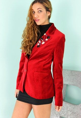 Red Velvet Blazer Jacket: