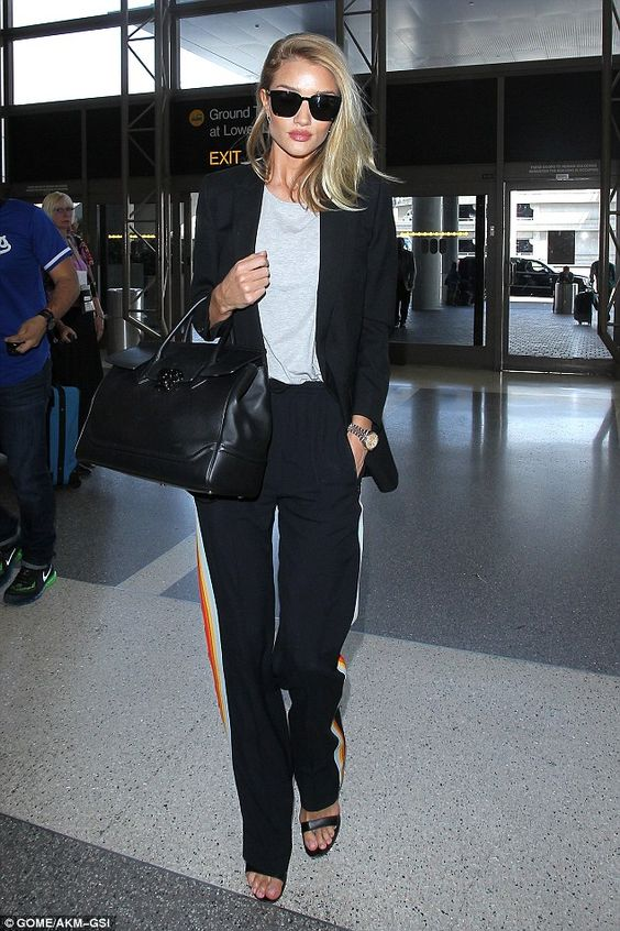 Rosie Huntington-Whiteley cuts a stylish figure as she flies out of LAX  | Daily Mail Online: