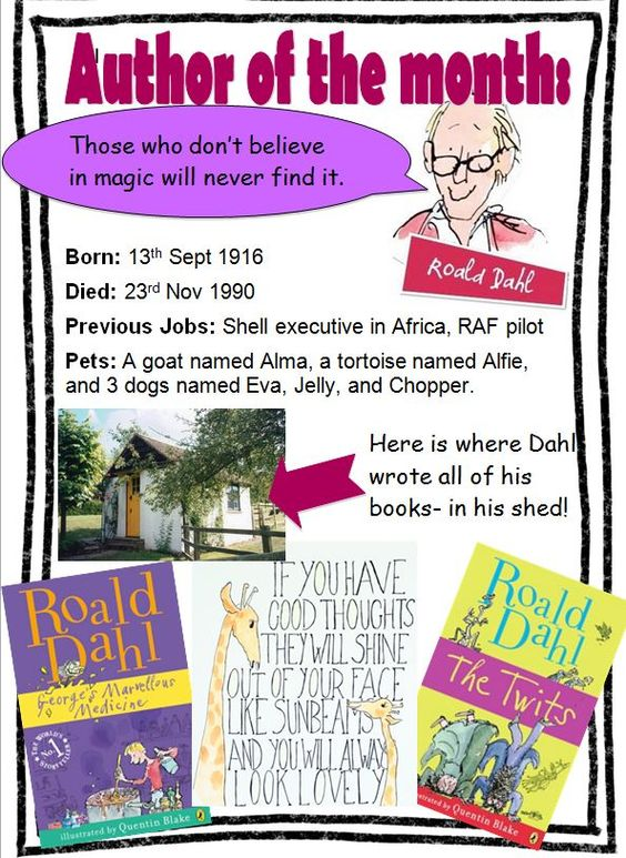 A great information poster about Roald Dahl.