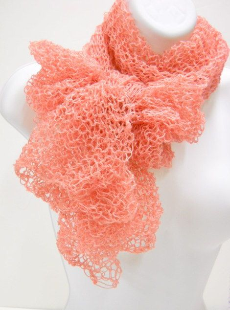 Lacy Scarf Shawl Hand Knit in Apricot. $29.00, via Etsy.