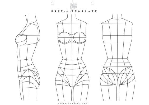 Underwear Woman body figure fashion template (D-I-Y your own Fashion Sketchbook)