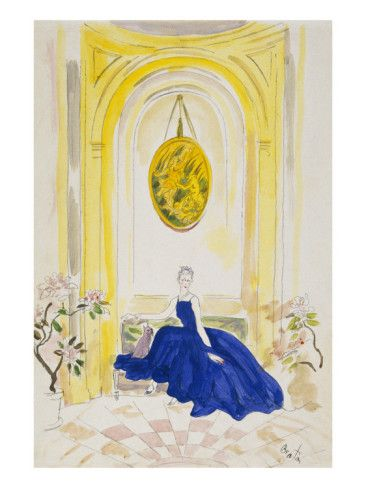 Elsie de Wolfe in a Mainbocher dress; watercolor by Cecil Beaton. Vogue, May 1, 1935.