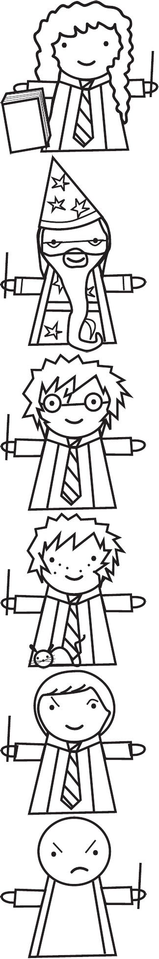 Harry Potter: The Boy-Who-Lived-To-Be-Made-Into-A-Finger-Puppet. They were meant to be Harry Potter finger puppet patterns but I think they're great Harry Potter coloring pages, LOL. The captions are funny. #puppets #harrypotter