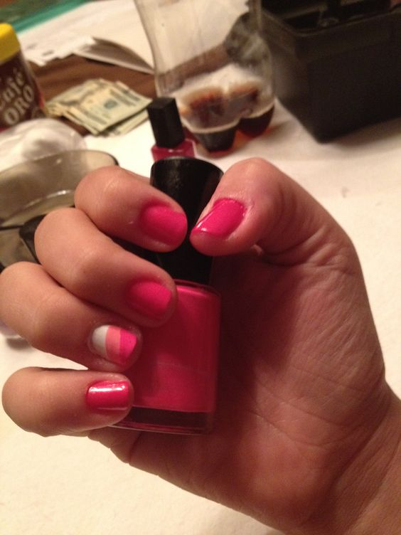 Nails #pink #rose #white