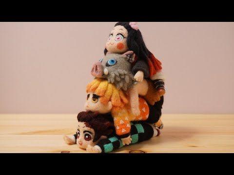 鬼滅の刃 炭治郎たちを積み重ねてみた Youtube 編み物 小物 羊毛フェルト 滅