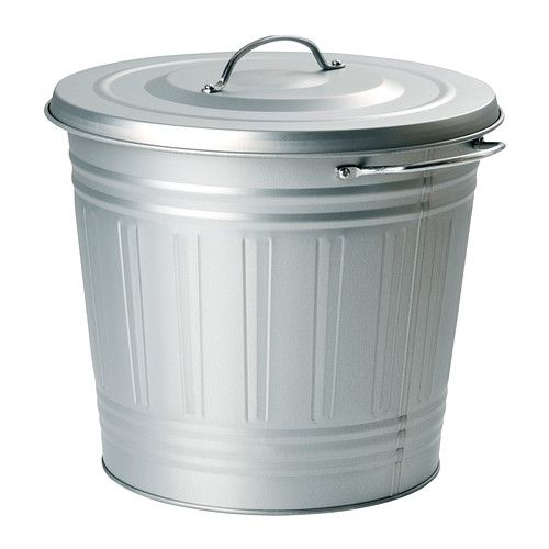 Knodd bin with lid galvanized 4 gallon ikea for the for Ikea trash cans