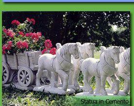 statua in cemento - fioriera carro con cavalli