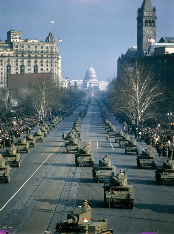 U.S. military tanks parade near the Capitol Building in Washington DC, 1947.  PHOTOGRAPH BY VOLKMAR K. WENTZEL, NATIONAL GEOGRAPHIC