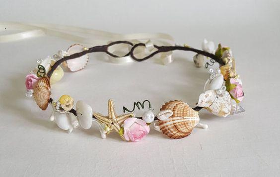 Playa de Tiara nupcial boda concha casco perlas de agua por CyShell: