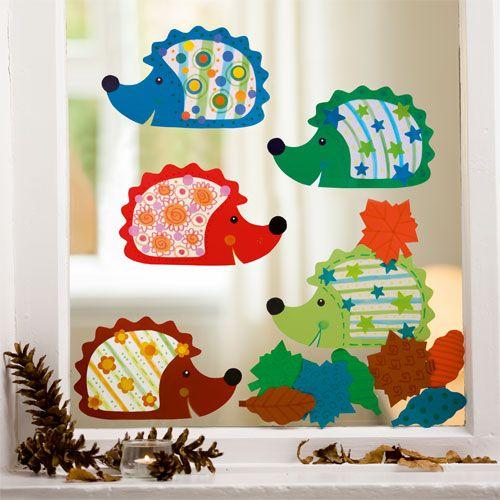 Sachenmacher Kinder Herbst Fensterbilder Igel, 15-teilig