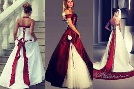 Resultado de imagem para vestidos de noiva branco e vermelho