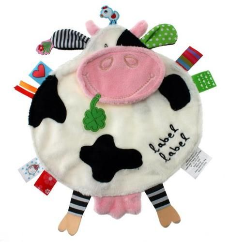 Label Label Baby Animal Comfort Soother Taggy Plush Blanket COW   eBay