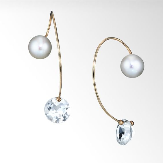 PEARL CATCH WHITE TOPAZ PIERCED EARRINGS