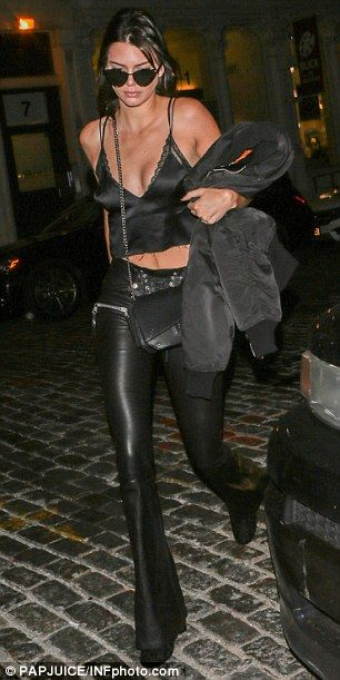 Lean legs: Kendall accentuated her long legs in the leather pants