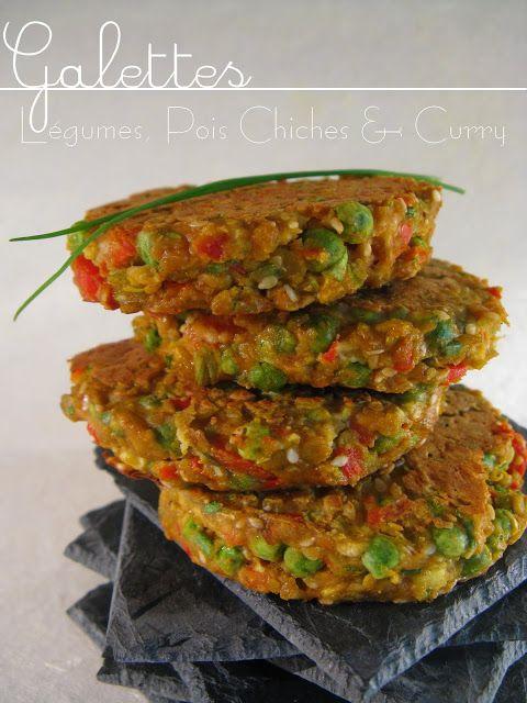 J'en reprendrai bien un bout...: Galettes - Légumes, Pois Chiches & Curry