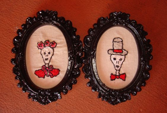 """""""Diego"""" and """" Frida"""" - embroidery on vintage linen, 4"""" - by artist Mavis Leahy - BOTH SOLD"""