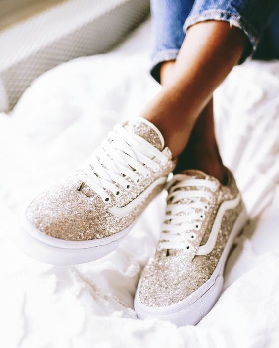 Vans | Gold | Glitter | Shoes | Inspo | More on fashionchick