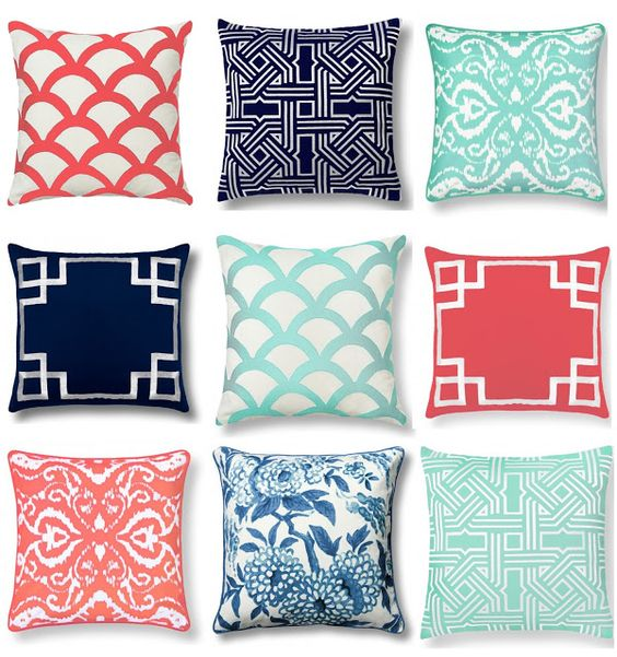 c wonder home decor throw pillows graphic navy coral mint