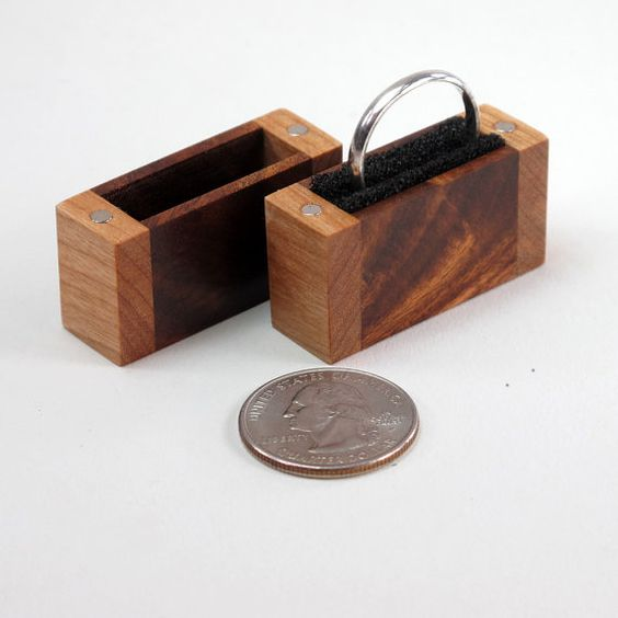Proposal ring engagement ring boxes and ring boxes on for Wooden ring box