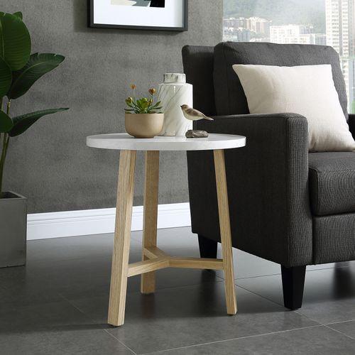Modern Round White Faux Marble Light Oak Side Table Living Room Side Table White Round Side Table Side Table Wood