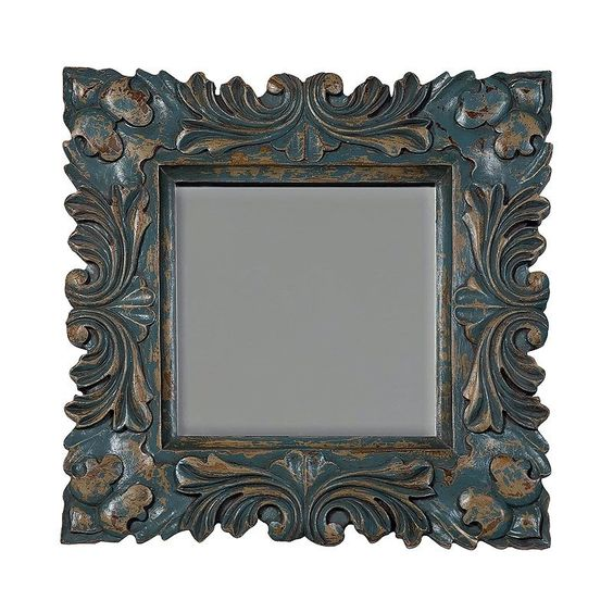Guildmaster 107516cc Baroque 26 Inch X 26 Inch Square Beveled Mirror Crossroads Cyan Home Decor Mirrors