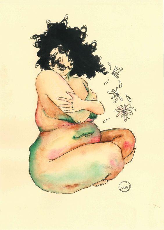 Mulher gorda aquarela por Lua Reis fat woman