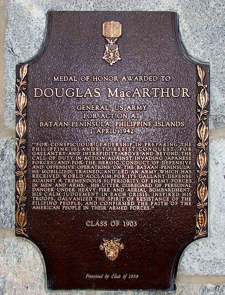 Medal of Honor Plaque for Douglas MacArthur affixed to MacArthur barracks, West Point, NY