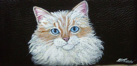 Birman Cat Custom Painted Leather Checkbook by daniellesoriginals, $18.95