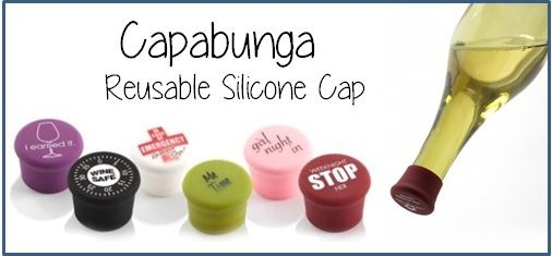 Capabunga silicone caps seal liquid tight over your wine bottle so there's no leaking if bottle lays on its side!