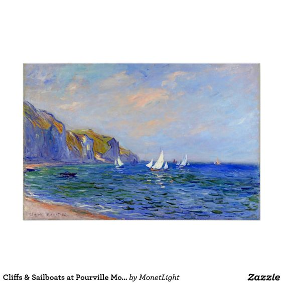 Cliffs & Sailboats at Pourville Monet Fine Art Poster