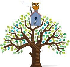Tree house tree vector art illustration