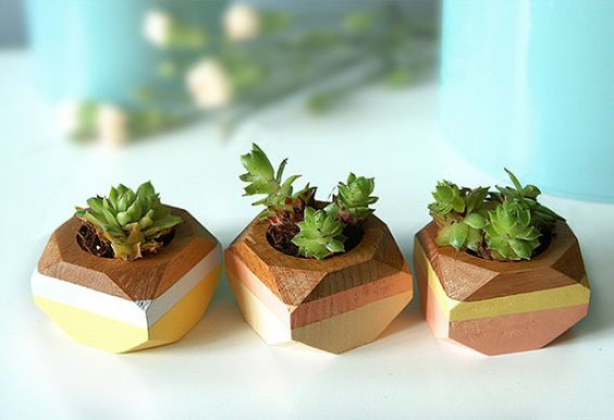 Geometric Mini Planters set of 3 for succulents by ShadeonShape, $35.00