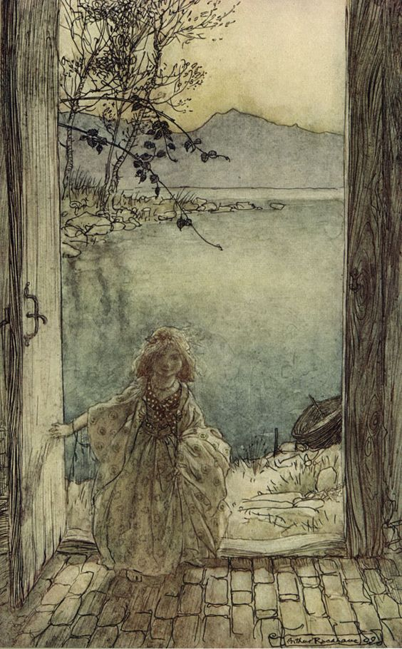 'A beautiful little girl clad in rich garments stood on the threshold smiling.' Undine, illustrated by Arthur Rackham.