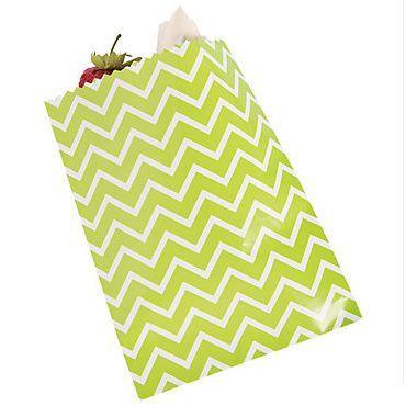 12 Green Chevron Cake Bags #13627275